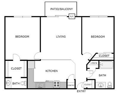 2 bed, 1.5 bath floor plan